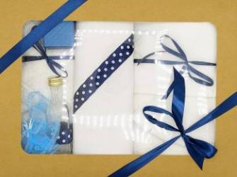Trusou botez bentița bleumarin in cutie cu capac natur Articole botez