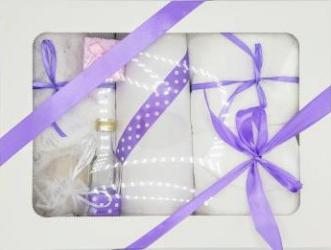 Trusou botez bentița mov in cutie cu capac alb Articole botez