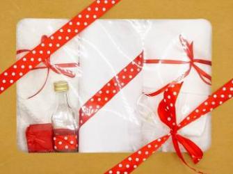 Trusou botez bentița roșie in cutie cu capac natur Articole botez