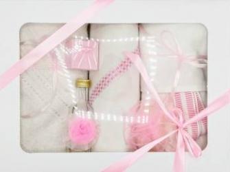 Trusou botez bentița roz in cutie cu capac alb Articole botez
