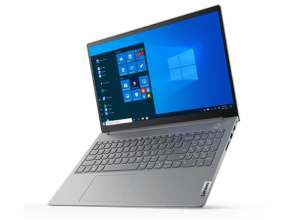 Left three-quarter view of Lenovo ThinkBook 15 Gen 2 tilted to sit on its front