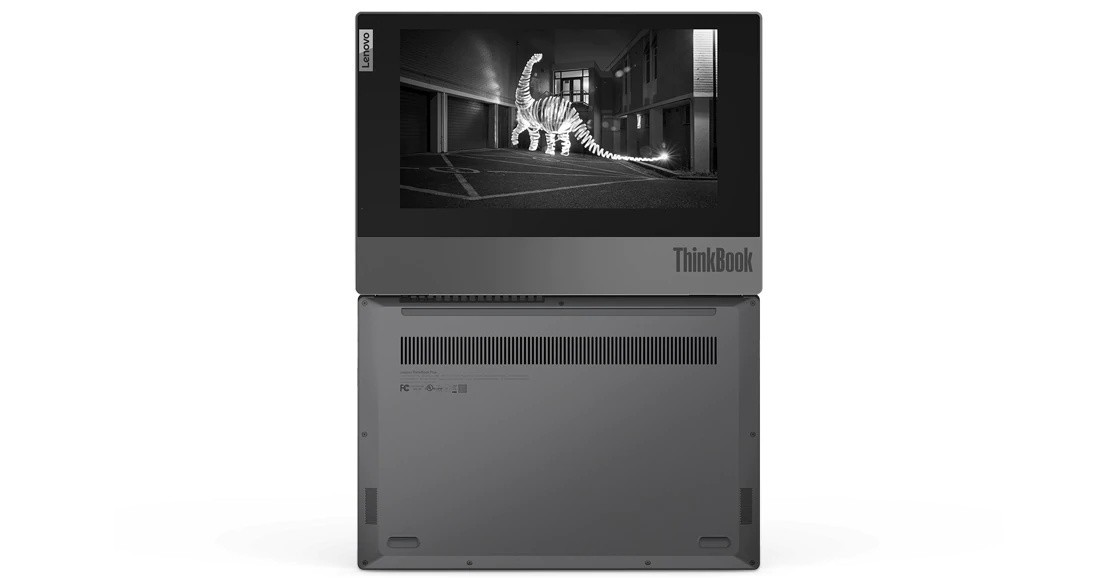 Lenovo ThinkBook Plus open 180 degrees, showing bottom and top cover with display.