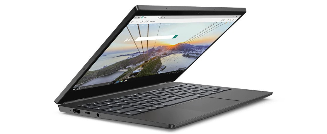 Lenovo ThinkBook Plus angled less than 90 degrees and showing left side ports.