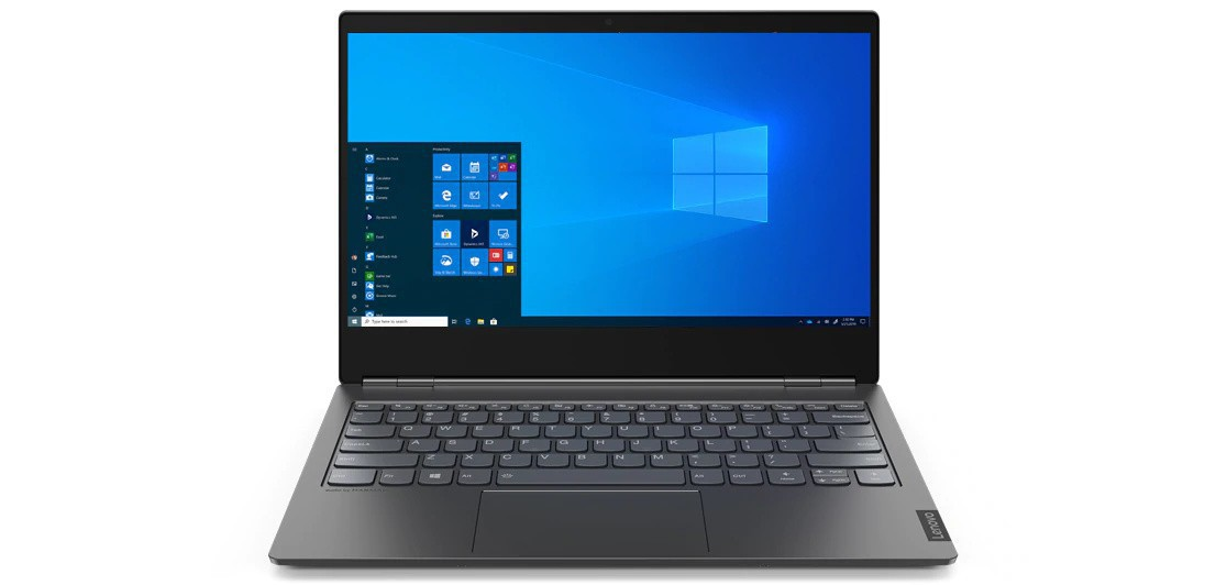 Lenovo ThinkBook Plus front view, open 90 degrees showing screen and keyboard.