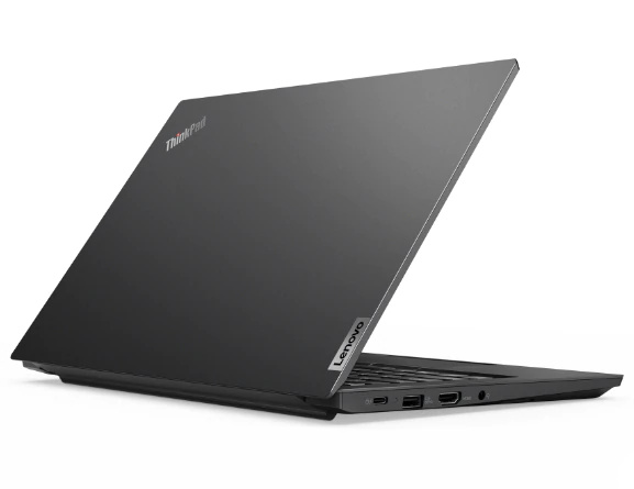 Rear right three-quarter view of black Lenovo ThinkPad E14 Gen 2