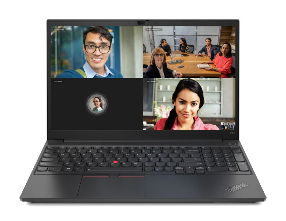 Front view of black Lenovo ThinkPad E15 Gen 2 with keyboard showing