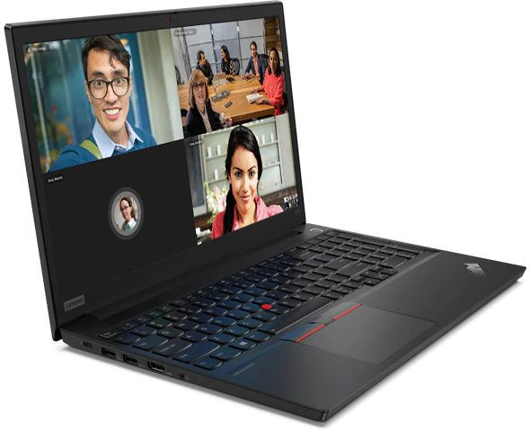 A ThinkPad E15 opened and on a flat surface, showing a video conference in action