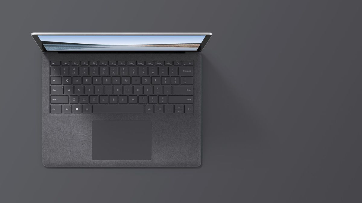 """13.5"""" Surface Laptop 3 in Platinum top down view"""