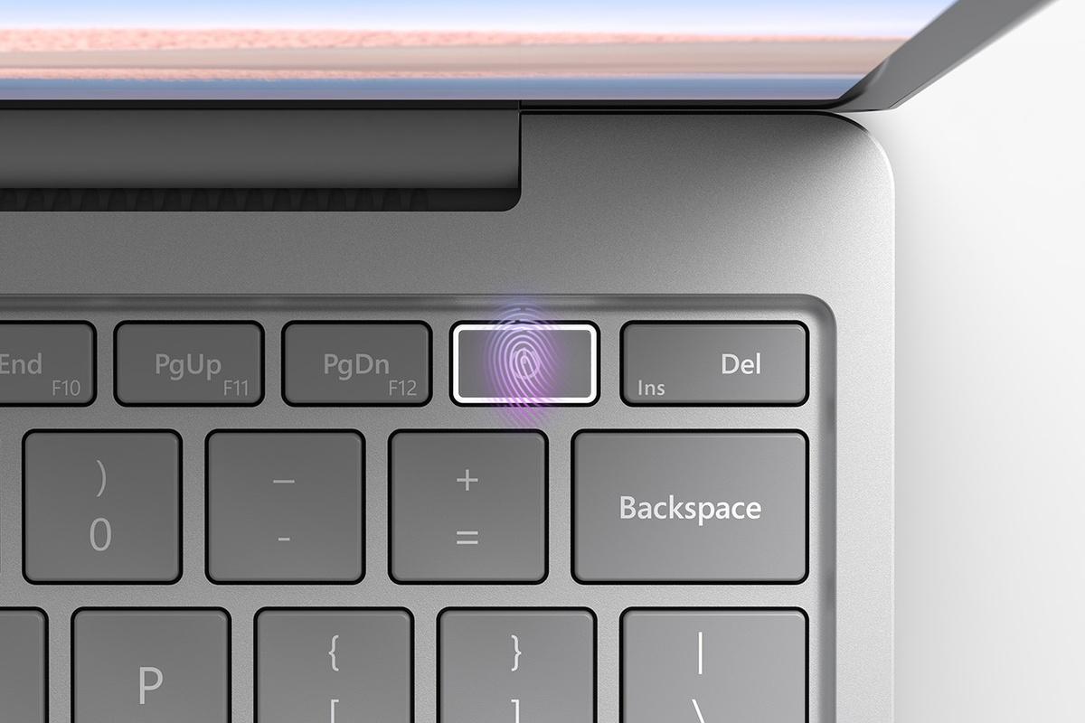 Butonul de alimentare cu amprentă al dispozitivului Surface Laptop Go