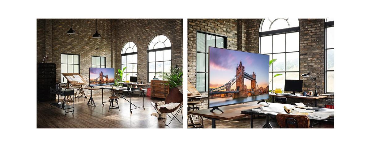 Un televizor aflat intr-o cameră veche de lucru, afisează o imagine a Podului din Londra. O imagine de mai aproape a unui televizor aflat pe o masă dintr-o cameră de lucru veche,afisând imaginea Podului din Londra