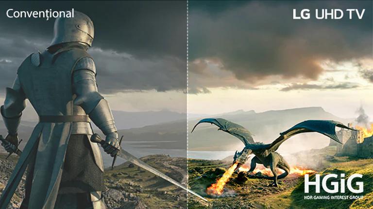 Un cavaler îmbrăcat în armură, cu sabie, si un dragon care suflă flăcări se înfruntă. Pe imagine, există texte pentru Modelul conventional în partea stângă sus, LG UHD TV în partea dreaptă sus si logoul HGiG în partea dreaptă jos.
