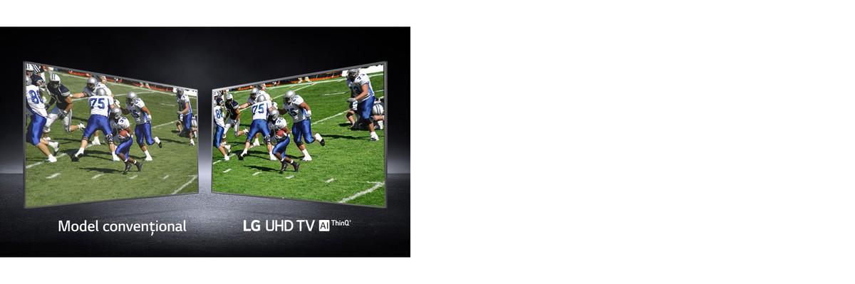 O imagine cu jucătorii care joacă pe un teren de fotbal prezentată în două vizualizări. Una prezentată pe un ecran conventional si una pe un televizor UHD.