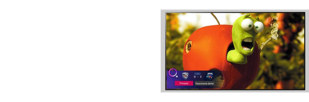 Televizor care prezintă un personaj de desene animate si alerta Sports în partea de jos a ecranului.