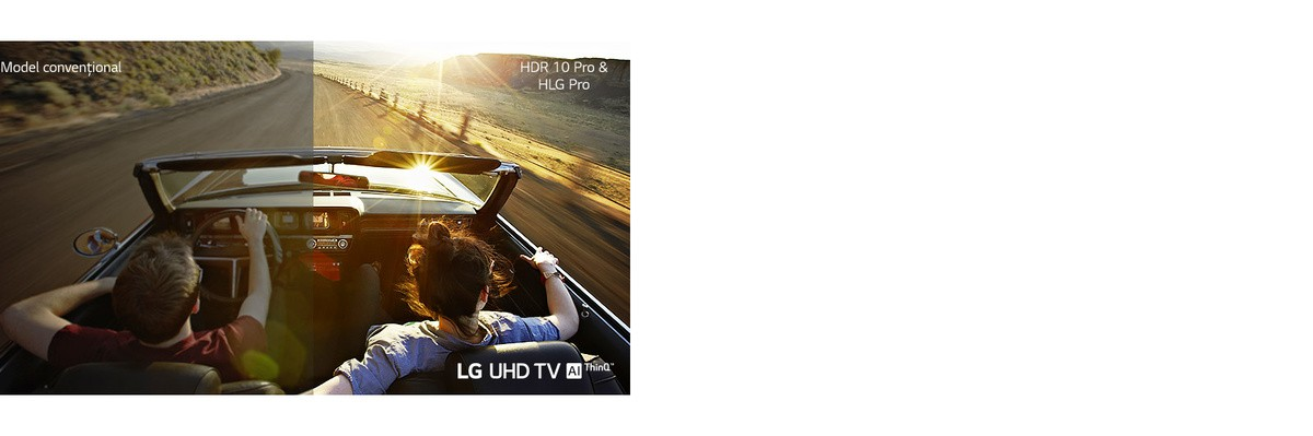 Un cuplu într-o masină care se deplasează pe sosea. O jumătate este afisată pe un ecran conventional, cu o calitate redusă a imaginii. Cealaltă jumătate este afisată cu o calitate extrem de clară si vie a televizorului UHD de la LG.