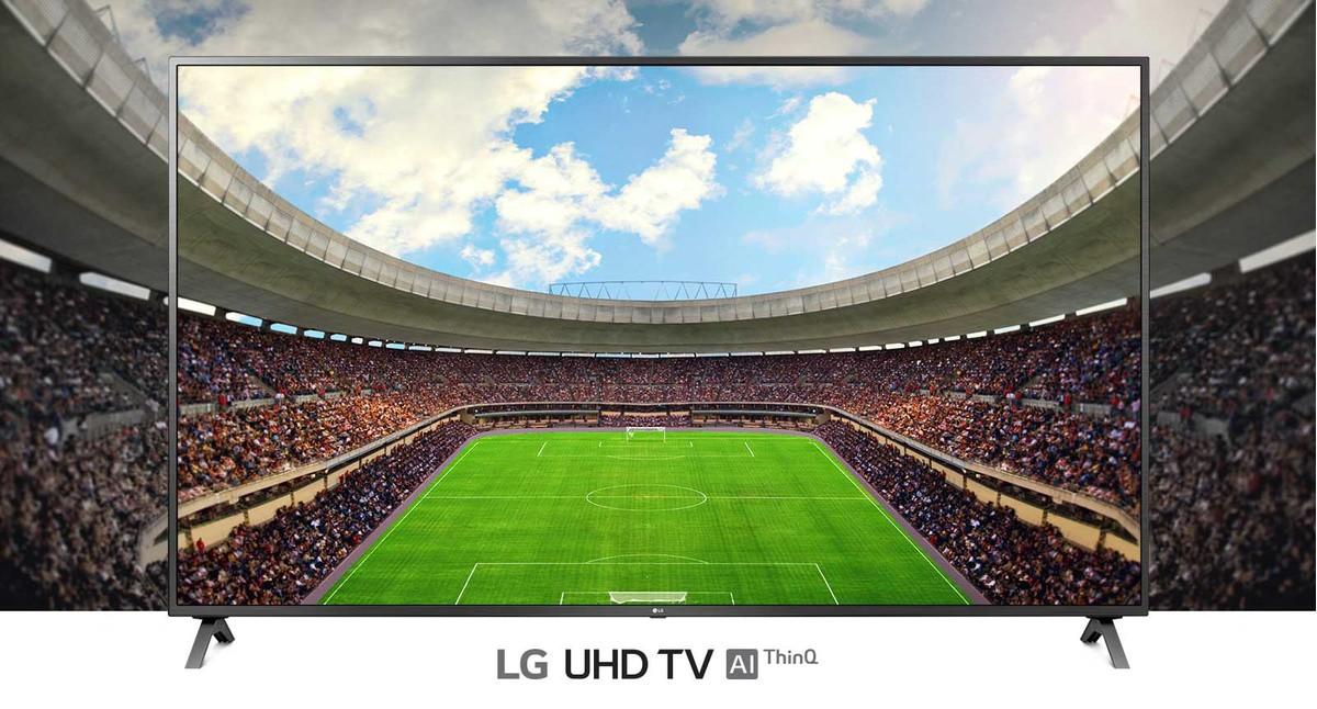 O vedere panoramică a stadionului de fotbal, plin de spectatori, afisat în cadrul unui televizor.
