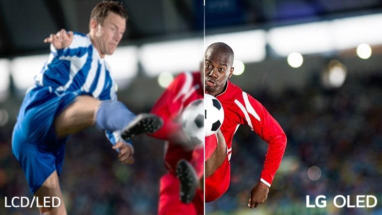 O imagine cu un meci de fotbal este împărtită în două pentru a putea fi comparată. Pe imagine, există textul LCD/LED în partea stângă jos si logoul ȘLG OLED în partea din dreapta jos.