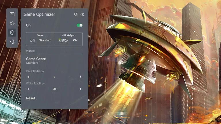 Un ecran TV care afisează o fotografiere o navă spatială care atacă un oras si functia Game Optimizer de la LG OLED de pe partea stângă, care reglează setarea jocului.