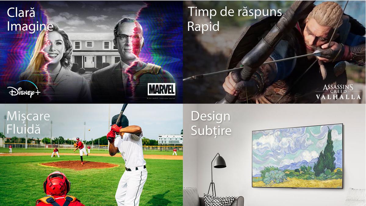 """O imagine din serialul WandaVision de la Marvel cu logoul Disney+ în partea stângă jos, un logo Marvel în partea dreaptă jos si textul """"Imagine clară"""" în stânga sus.O scenă din jocul Assassin's Creed Valhalla cu logoul Assassin's Creed Valhalla în partea dreaptă jos si textul """"Timp de răspuns rapid"""" în partea stângă sus.O imagine a unui jucător care încearcă să lovească o minge de baseball în timpul jocului cu textul """"Miscare fluidă"""" în stânga sus.Imaginea unui ecran TV montat pe perete cu textul """"Design subtire"""" în stânga sus."""