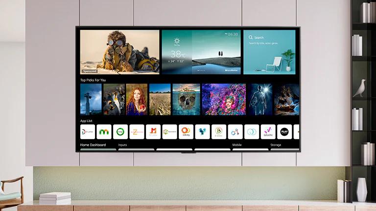 Un ecran TV care afisează ecranul de pornire cu un nou design, cu continut si canale personalizate