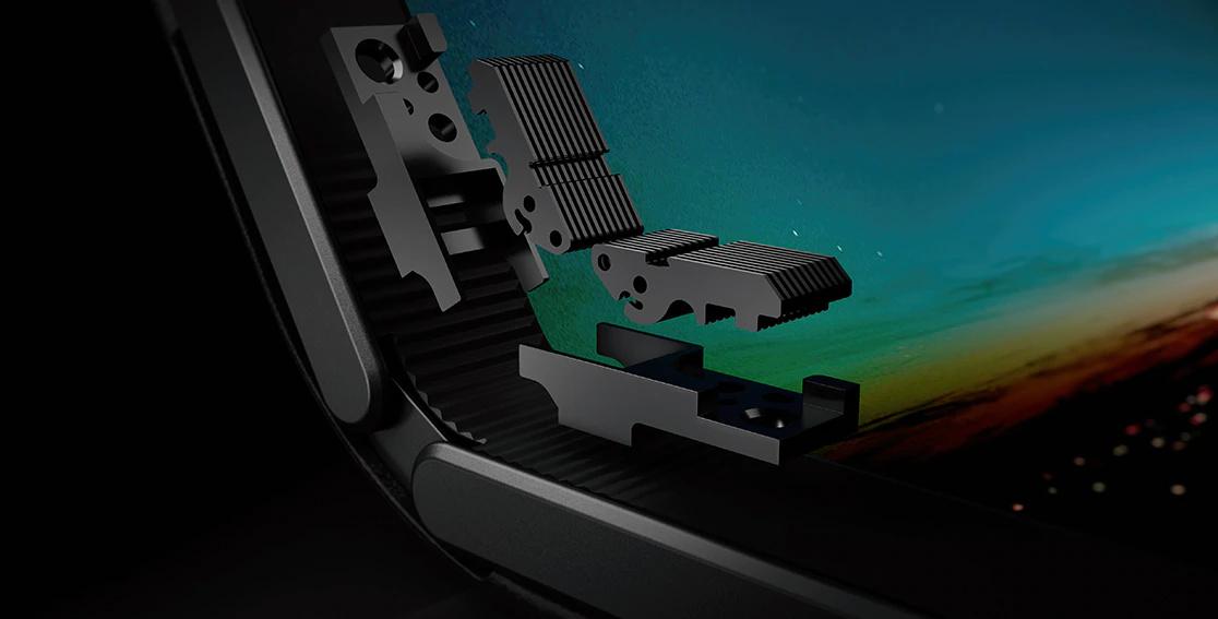 Closeup of Lenovo ThinkPad X1 Fold screen folding mechanism