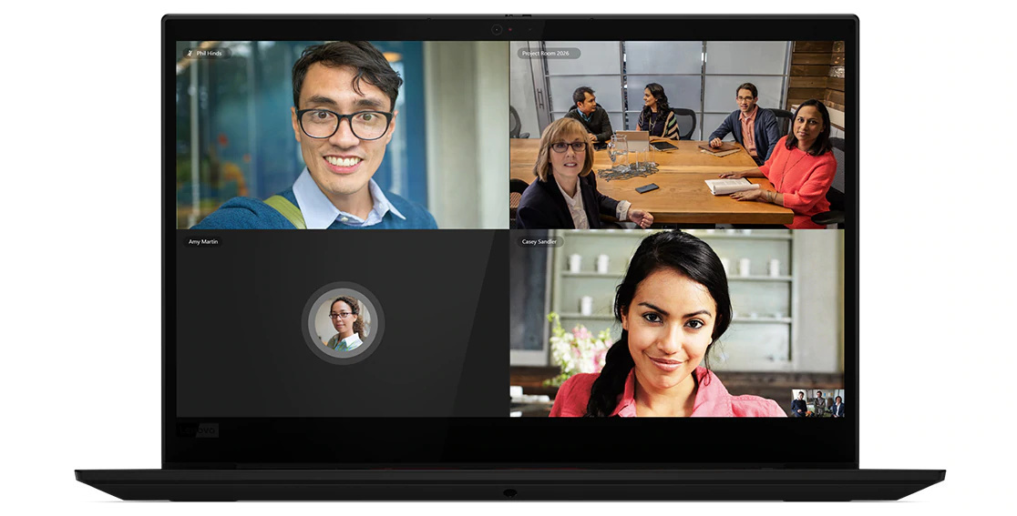 Headshot showing video conference session on display of Lenovo ThinkPad X1 Extreme Gen 3 laptop.