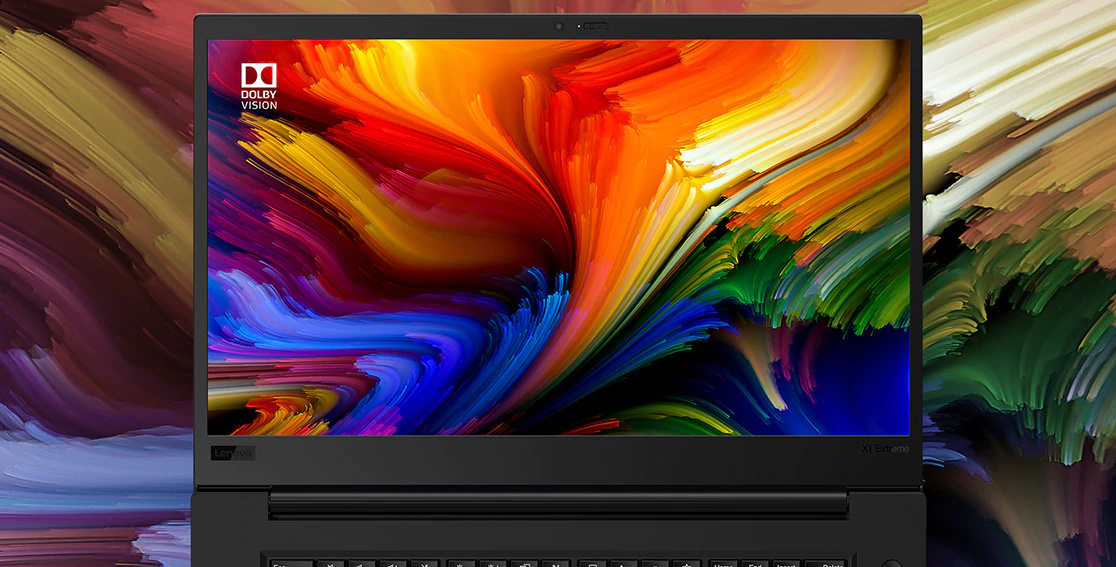 Close up of Lenovo ThinkPad X1 Extreme Gen 3 4k display with Dolby Vision.