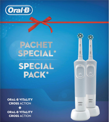 Pachet 2 periute electrice  Oral B Vitality Cross Action Alb